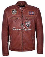 New Mens 1457 SQUADRON AVENGER Chestnut Biker Style Real Lambskin Leather Jacket