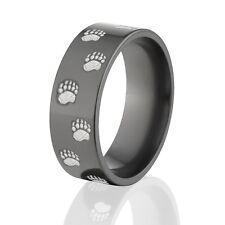 USA Made Lasered Bear Track Black Zirconium Ring, Wedding Band, Hunting Rings