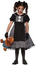 Dark Rag Doll Evil Zombie School Girl Child Halloween Fancy Dress Costume 4-12