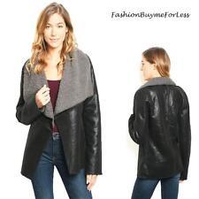 Black Faux Lamb Leather Shearling Sherpa Fleece Moto Biker Jacket Coat S M L NEW