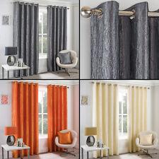 Crushed Taffeta Faux Silk Fully Lined Eyelet Curtains Orange Cream Silver Grey