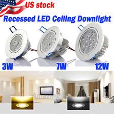 US Ship 6/12X 3W/7W/12W LED Downlight Ceiling Recessed Light Bult Lamp 110-220V