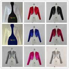 Satin Shrug Wedding Jacket Stole Bolero  long Sleeves Royal blue red UK 6-28