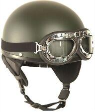 Motorradhelm Halbschale Chopperhelm mit Brille und Nackenschutz oliv