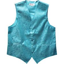 New Men's Formal Tuxedo Vest Waistcoat paisley turquoise blue wedding 5XL 6XL