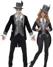 Deluxe Dark Mad Hatter Costume Mens Ladies Halloween Alice Fancy Dress New