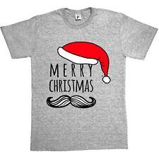 Feliz Navidad Vintage Bigote & Santa Sombrero Hombre Camiseta