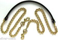 "3/8"" Wide Skinny Gold / Nickel Chain & Genuine Leather Shoulder Bag/Purse Strap"
