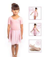 BALLET SET - Girls Pink Short Sleeved Leotard, Skirt & Leather Ballet Shoes NEW