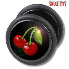 BLACK CHERRIES FAKEPLUG - Fake Piercing Picture Plug Ohrstecker - Cherry Pin Up