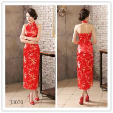red Chinese women's silk/satin plum blossom evening dress Cheongsam 6-16