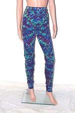 Adult TIE DYE Leggings Grn/Purple Blotter hippie art  longjohns sm med lg xl 2x