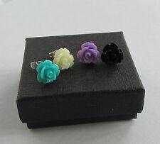 Handmade Pretty Flower Petal Stud Earrings Turquoise Cream Lilac Black - Boxed