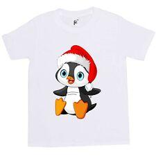 BIG Blue Eye Penguin indossando Natale Babbo Natale Cappello Bambini Ragazzi/Ragazze T-shirt