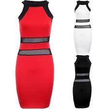Ladies Sleeveless Stripe Contrast Mesh See Through Women's Bodycon Dress 8-14