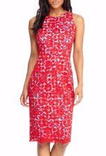 Maggy London G2848M Anja Midi Bright Red Lace/Blue Gingham Sheath Dress, 8  $180