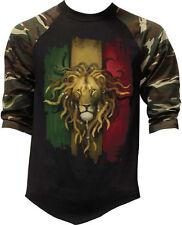 Men's Rasta Flag Lion Camo Baseball Raglan T Shirt Reggae Rastafarian Zion Tee