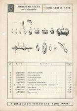Sachs Preisliste 152.5/2 Komet-Super-Nabe Einzelteile