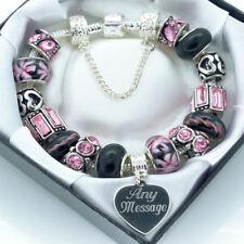Regalos Personalizados Para Mamá Grabado Pulsera Joyería Rosa y Negro Perlas