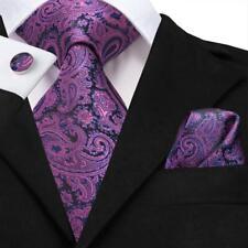 Purple Black Paisley Mens Tie Woven Silk Necktie Set Hanky Cufflinks Wedding