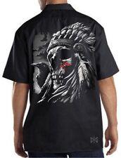 CHIEF WARPAINT Skull Mechanics Work Shirt Biker ~ Dickies ~ Indian OUTLAW