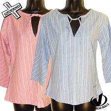 VOODOO DOLLS 'Hippy Top Camisa Top para Mujer' azul Marino De Rayas Cerise 8 12 14 nuevo PVP £ 25