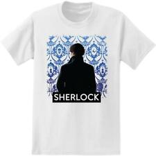 Sherlock Holmes Wallpaper Background Adult White T-Shirt