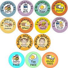 48 adesivi per allergie alimentari / allergeni-DADO, latte, glutine, uova, frumento, ecc.