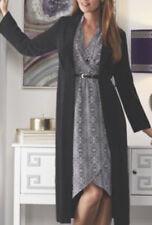 Midnight Velvet Black White Bohemian Pattern Belted Dinner Church Dress Size 16