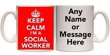 KEEP CALM I'M A SOCIAL WORKER MUG & COASTER (T4) ALL COLOURS 11oz-15oz GIFT