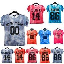 NEW niña Tie-Dye HAWAII YORK Estampado Amor Elegante Verano Camiseta 7-13yr AÑOS