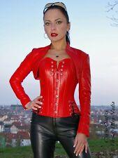 Lederbolero Leder Bolero Jacke Rot Stehkragen Größe 32 - 58 XS - XXXL