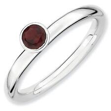 Sterling Silver Stackable Ring High Set 4mm Garnet stone, Birthstone Ring QSK458
