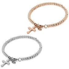 "Fashion Stainless Steel Cross Jewelry Charm Womens Girls Beads Bracelet 7.7"""