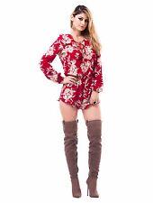 Womens Long Sleeve Crew Neck Lace Up Floral Romper Jumper Jumpsuit Party Dress