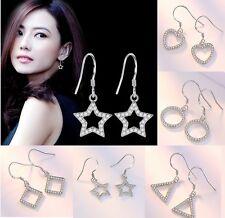 Sterling Silver Geometric Crystal Star Square Infinity Heart Drop Earrings K32A