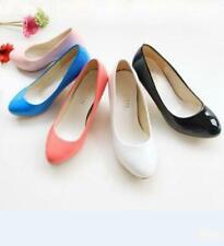 Womens Ladies Patent Leather Kitten Heel OL Slip On Pumps Causal Court Shoes SZ