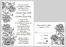 100 Personalized Custom Formal Black Floral Bridal Wedding Invitations Set