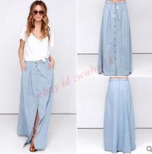 Europe Womens Maxi Skirts A-Line Leisure Beach Denim Jeans Long Button Vogue New
