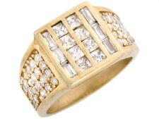 10k Solid Gold CZ Cluster Channel Set Bling Mens Ring