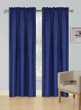 2pc Rod Pocket Foam Lined Thermal Blackout Window Curtain Drape Panel R64 navy