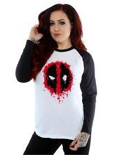 Marvel mujer Deadpool Splat Face Camisa de manga larga de béisbol