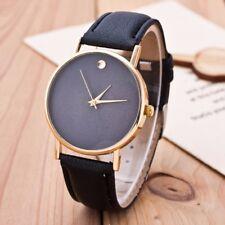 New Casual Black Brown White Quartz Watch Men Women Gold Silver Leather Strap