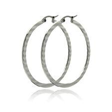 Stainless Steel Round, Textured Flat Hoop Earrings 20mm to 60mm