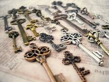 Assorted Steampunk Key Charms Pendants-Skeleton Keys-Bronze Silver Gold