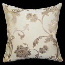 HC521a Lt. Gold Lt. Brown Beige Flower Jacquard Cotton Cushion Cover/Pillow Case