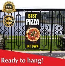 Best Pizza In Town Banner Vinyl / Mesh Banner Sign Flag Cheeseburger Food Cart