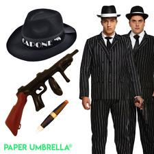 1920s Gangster Suit Costume: Men Hat Cigar Tommy Gun Spat Tie Braces Fancy Dress