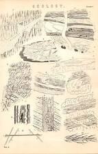 1868 PRINT ~ GEOLOGY ~ GRANITE VEIN ~ SANDSTONE ~ GREENSTONE ETC