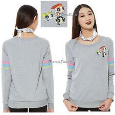 The Powerpuff Girls Trio Pocket Long Sleeve Pullover Top Sweatshirt Junior XS XL